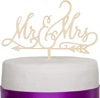 Ella Celebration Mr and Mrs Wooden Wedding Cake Topper, Rustic Wood Arrow Reception Decoration Toppers (Mr & Mrs Arrow)