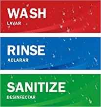Wash Rinse Sanitize Sink Labels, Ideal for 3 Compartment Sink,2.75