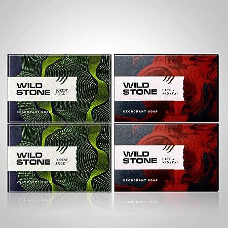 Wild Stone 2 Forest Spice Soap & 2 Ultra Sensual Soap (125 Gm Each)