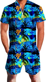 Mens Casual 3D Printed Short Sleeve Rompers Zip Jumpsuit with Pocket S-XXL