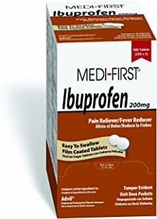 Medi-First Ibuprofen, 200mg Ibuprofen Per Tablet, Fever Reducer, Relief of Aches & Pains due to Arthritis, Muscular, Back Pain, Headache, Colds & Menstrual Cramps, Box of 500 (250 packets/2 Tablets)