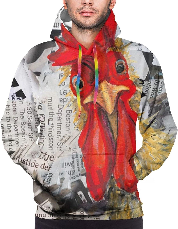 Hoodie For Men Women Unisex Vintage Rooster Newspaper 3d Printed Hooded Sweatshirt