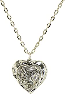 Paialco Jewelry Antiqued Silver Pewter Heart Shaped Plate Pendant Necklace 24 Inches Long