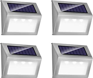 Solar Deck Lights iThird 3 LED Solar Powered Step Lights Stainless Steel Outdoor Lighting for Steps Paths Patio Stair Auto...