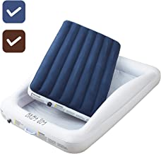 DOUBLE SIDED Inflatable Toddler Bed with Waterproof Sheet   Removable Mattress Bed Bumpers   Fast Electric Air Pump Inflates in Seconds   Portable Travel Design