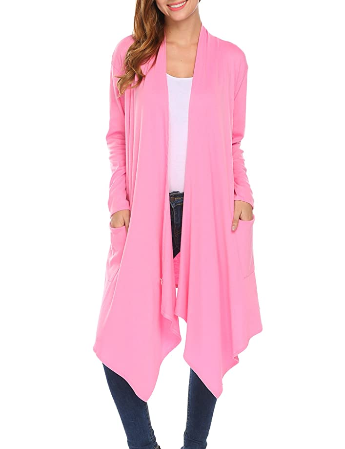 Womens Open Front Asymmetrical Drape Long Maxi Cardigan Lightweight Long Sleeve Waterfall Duster Coat with Pockets