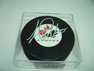 Signed Luc Robitaille Hockey Puck - Team Canada 1B - Autographed NHL Pucks