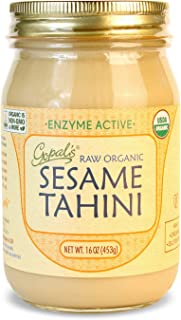 Gopal's Raw Organic Sesame Tahini from Non-GMO, Vegan, Gluten-Free and Certified Organic Sesame Seeds 16 Ounces (453 Grams)