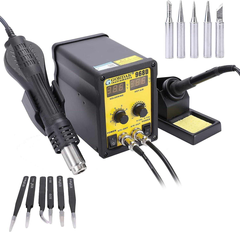 Estación de soldador y pistola desoldadora, pantalla LED de estación de retrabajo 2 en 1, corrección de temperatura digital y función de suspensión