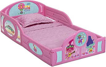 Trolls World Tour Plastic Sleep and Play Toddler Bed with Attached Guardrails by Delta Children