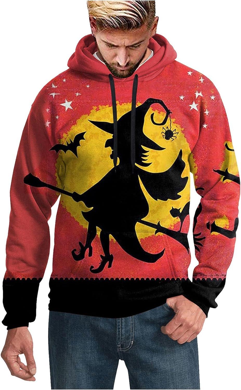 Halloween Sweatshirts for Men Loose 3D Full Printed Long Sleeve Pollover Hoodies