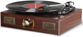 LuguLake Vinyl Record Player, 3-Speed Turntable, Belt Drive LP Vintage Phonograph, Built-in Speaker, Aux in and RCA Output...