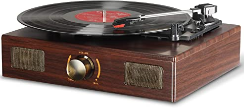 LuguLake Vinyl Record Player, LuguLake Turntable with Stereo 3-Speed, Record Player, and RCA Output, Vintage Phonograph with Retro Wooden Finish