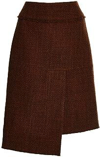 Burgundy Wool Tweed Asymmetric Hem Skirt
