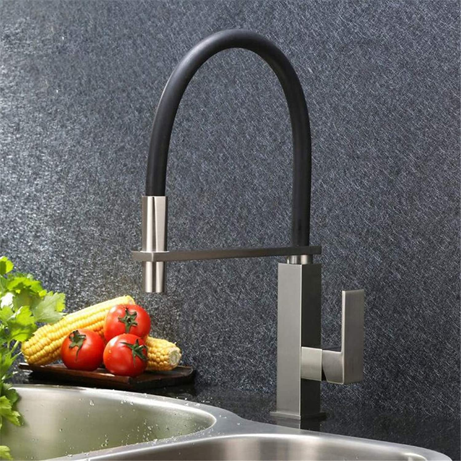 Faucet Washbasin Mixer Brushed Unleaded Brass Kitchen Faucet Square Pull Down Out Tap Single Hole Mixer Faucet