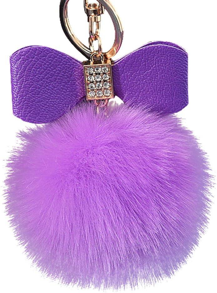 Soft Pom-pom Key Chain Bag Cute Fluffy Puff Ball Key Ring Car Handbag Pendant UK