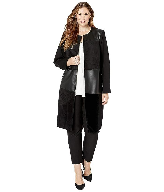 Plus Size Topper Jacket with PU/Suede/Velvet (Black) Women's Jacket