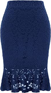 Womens Elastic Waist Wear to Work Lace Mermaid Pencil Skirt