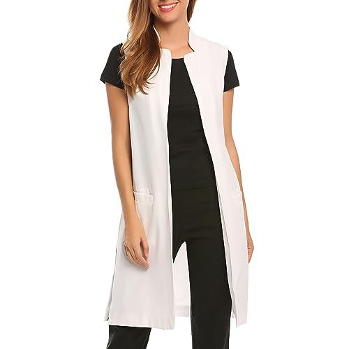 3014bee0cbb129 Zeagoo Women s Casual Sleeveless Vest Solid Long Trench Coat Open Front  Blazer