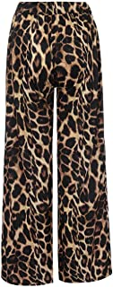Barlingrock Fashion Women High Waist Leopard Print Casual Long Pants Wide Leg Pants,Floral Print Elastic Waist Harem Pants,Boho Yoga Pants Harem Pants Jogger Pants