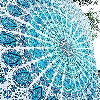Popular Handicrafts Kp753 Twin White Hippie Mandala Bohemian Psychedelic Tapestry Wall Hanging Indian Bedspread Magical Thinking Tapestry 84x54 Inches,(215x140cms) Teal and Blue on White