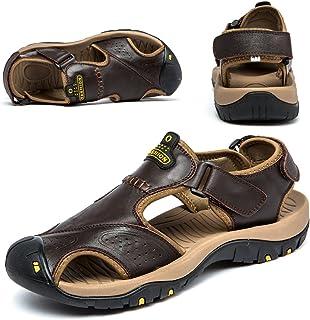صنادل للرجال جلد المشي لمسافات طويلة صنادل رياضية المشي صياد السمك أحذية الشاطئ مغلقة من الأصابع المياه