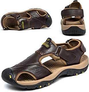 BINSHUN Sandals for Men Leather Hiking Sandals Athletic Walking Sports Fisherman Beach Shoes Closed Toe Water Sandals