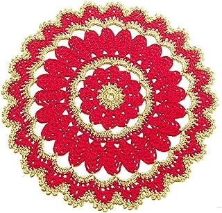Centrino rotondo rosso e oro per Natale all'uncinetto - Dimensioni: ø 26.5 cm - Handmade - ITALY