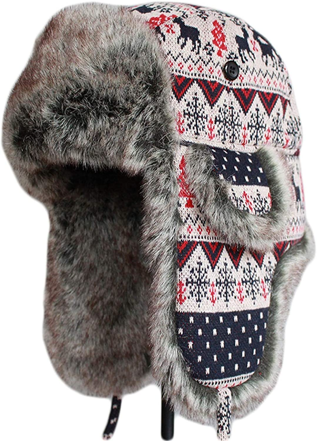 koweis Women's Knitted Fur Cap Beige Warmer Bomber Hats with Earflap at  Amazon Women's Clothing store