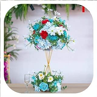 Memoirs- 2Set Artificial Silk Flower Ball + Iron Frame Wedding Main Table Flower Decoration Welcome Table Decoration Fake Flower,N
