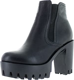 Fabia-01 Women's Elastic Side Zip Lug Sole Platform Chunky Ankle Boots
