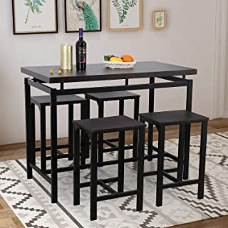 Dining Table Set, Rockjame 5 Piece Counter Height Pub Table Set with 4 Chairs for The Bar, Breakfast Nook, Kitchen Room, Dining Room and Living Room (Espresso)
