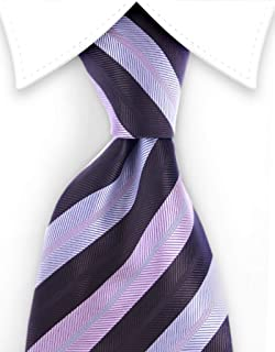 Dark Brown, Silver, Light Pink Striped Necktie Multicolored