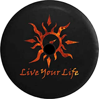 JL Spare Tire Cover Live Your Life Tribal Sun Compass Flames Fire with Backup Camera Hole Black 32 in