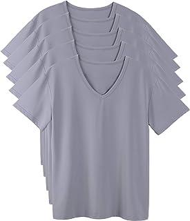 [5枚組] インナーシャツ メンズ 肌着 防菌防臭 Vネック半袖 白/グレー