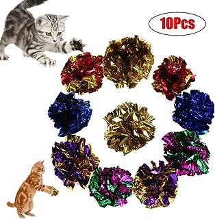 khkadiwb Cat Toys/Interactive Cat Toys/Cat Accessories/10Pcs Pet Kitten Cat Funny Mylar Crinkle Ring Paper Balls Cat Playing Chew Toys - Random Color 10pcs Having Fun Exercise Playing