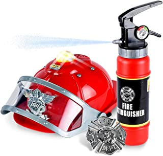 WolVol Firefighter Hat with Lights and Sirens - Well-Made Plastic Costume Hat with Badge & Extinguisher - Aids Kinesthetic Learning & Development for Boys & Girls