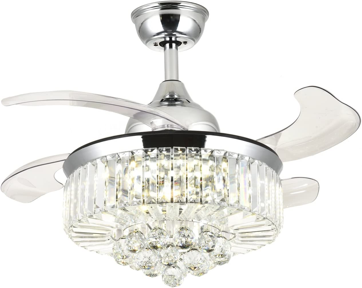 42 Max 86% OFF Inches Reverse Dimmable Fandelier L Fans with Ceiling Max 77% OFF Crystal