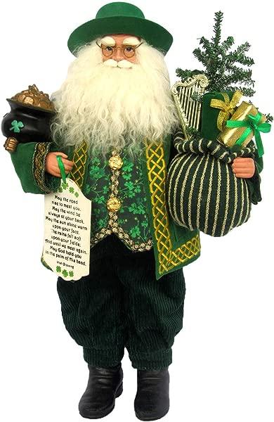 Santa S Workshop Irish Claus Figurine 18 Tall Green