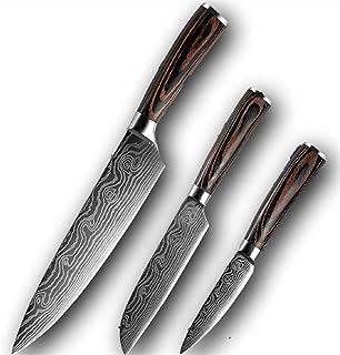 """8"""" 5"""" 3.5"""" Chef Ensemble de couteaux 3 pièces Damas motif de cuisine en acier Ensemble de couteaux Fendoir Peeling Santoku..."""