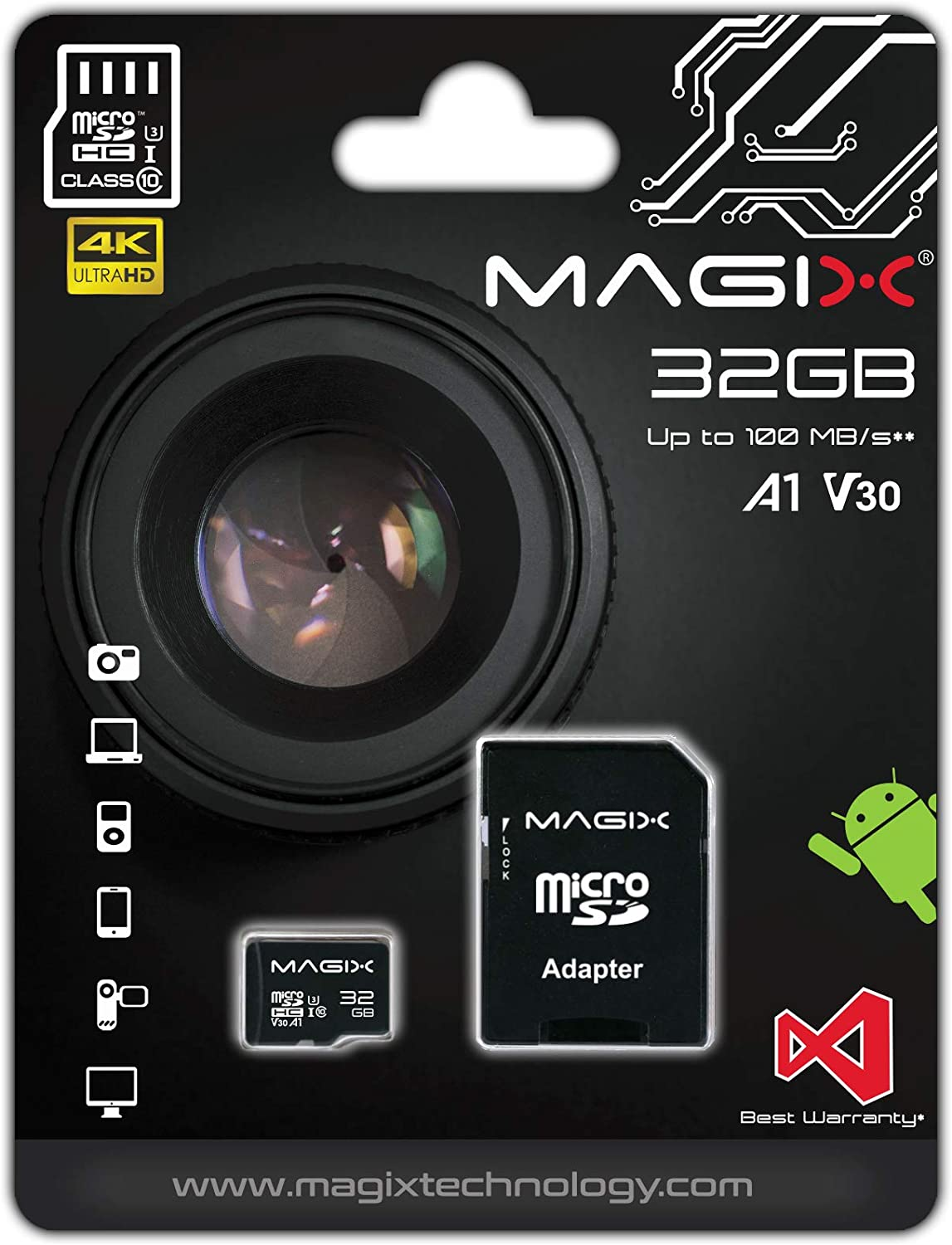 Magix MicroSD Card 4K Series Class10 V30 + SD Adapter, Read Speed Up to 100 MB/s (32GB)