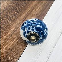 DF830 1x Chinese Stijl Blauw En Wit Handgeschilderde Keramische Enkele Ronde Knoppen Vintage Kast Lade Handgrepen Trekt Me...