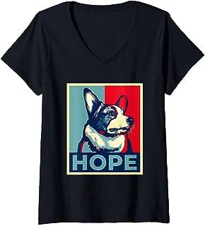Womens Funny Corgi Meme Election 2020 Obama Hope Campaign Poster V-Neck T-Shirt