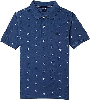 Nautica Big Boys' Short Sleeve Print Block Polo - White