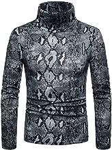 Simayixx Sexy Shirts for Men, Fashion Slim Fit Snakeskin Print High Collar Long Sleeve Pullover Sweatshirts Tops