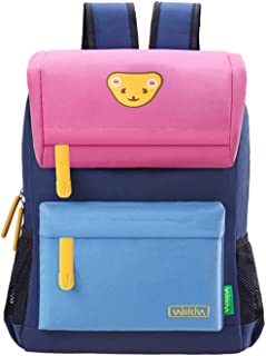 Willikiva Cute Bear Kids School Backpack for Children Elementary School Bags Girls Boys Bookbags (Pink/Wathet Blue/RoyalBlue, Large)