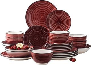 vancasso, Série Bonbon, Service de Table en Céramique, Service Complet 24 Pièces pour 6 Personnes, Assiette Plate Dessert ...