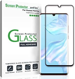 amFilm Screen Protector for Huawei P30 Pro (2019), Full Cover (Case Friendly) Tempered Glass Film Screen Protector for Huawei P30 Pro (Black)