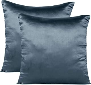 Oussum Silk Cushion Cover Set of 2 Throw Pillow Covers Satin Silky Cushion Case Home Decor Pillow Case (Castlerock Grey, 1...