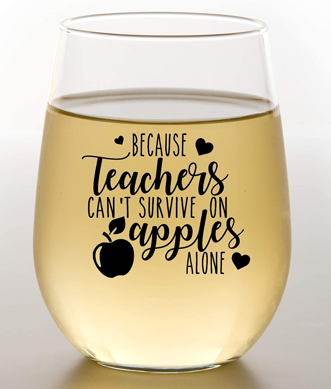 Teacher Appreciation Gift - Cute Wine Glass Gift Idea For End The Year, Christmas, Birthday, Mothers day, Or Thank You - Preschool, kindergarten, high school